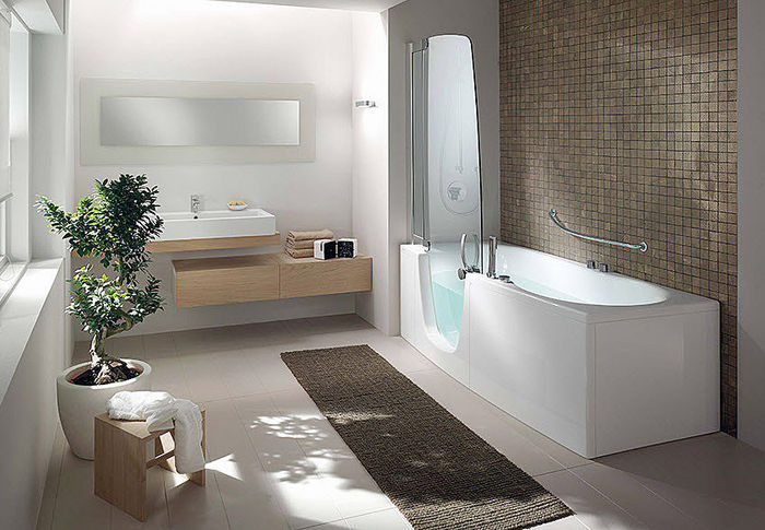 Walk in bathtub with shower bathroom design for Walk in tub bathroom designs