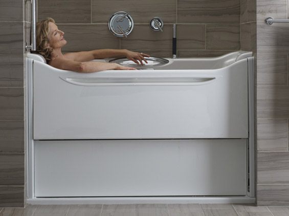 Elevance rising wall bathtub by kohler for Sit down shower tub