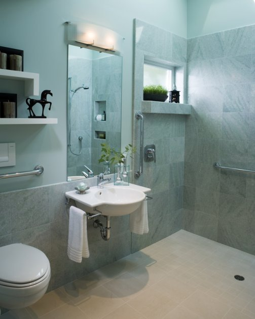 Cool and calming wheelchair accessible bathroom for Wheelchair accessible bathroom designs