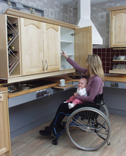 Freedom lifts systems for the kitchen for Wheelchair accessible kitchen cabinets