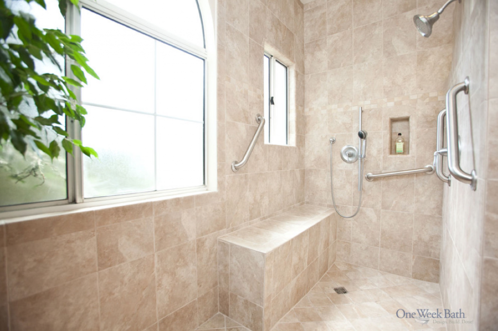 Wheelchair accessible bathroom by one week bath for Wheelchair accessible bathroom designs