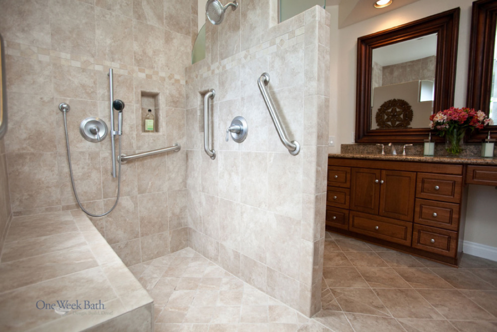Wheelchair accessible bathroom by one week bath for Handicapped accessible bathroom designs