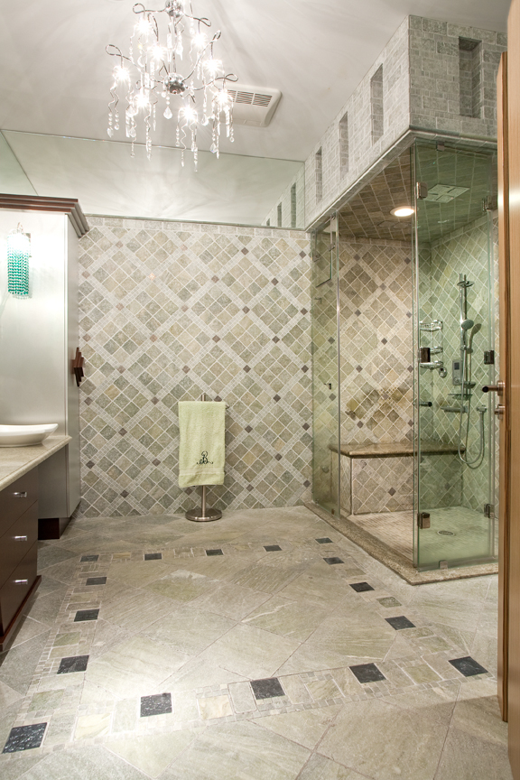 Classicaly modern wheelchair accessible bathroom for How to build a wheelchair accessible shower