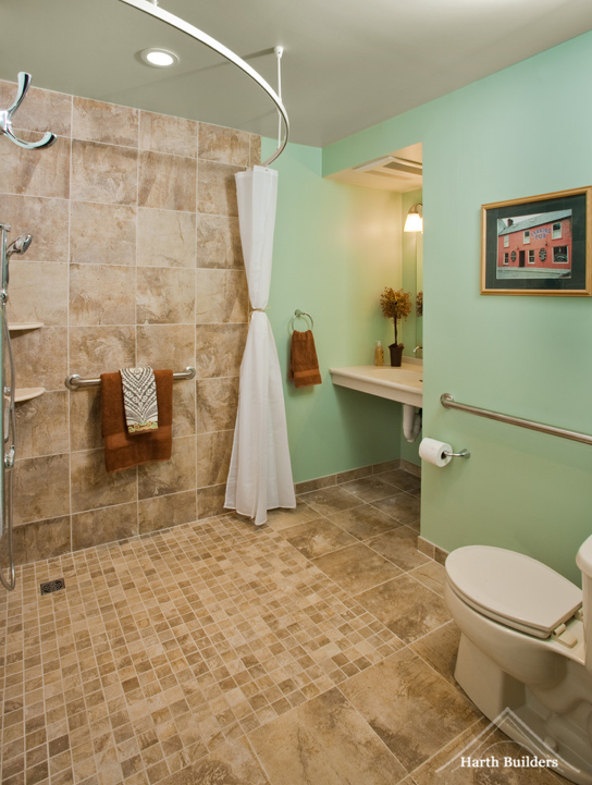 Wheelchair accessible bathroom by harth builders for Pictures of handicap bathrooms