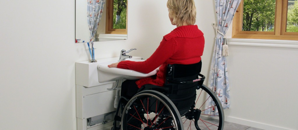 Countertop Height For Wheelchair : Electronic Height Adjustable Bathroom SinkUniversal Design Style