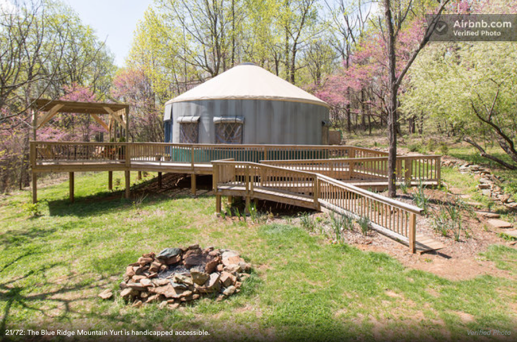 & Wheelchair Accessible Yurt in the Blue Ridge Mountains